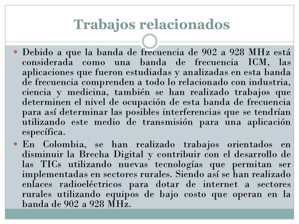 Trabajos relacionados Debido a que la banda de frecuencia de 902 a 928 MHz está considerada como una banda de frecuencia ICM, las aplicaciones que fue