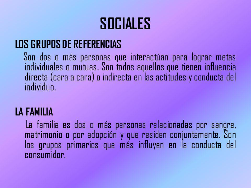 SOCIALES LOS GRUPOS DE REFERENCIAS Son dos o más personas que interactúan para lograr metas individuales o mutuas.