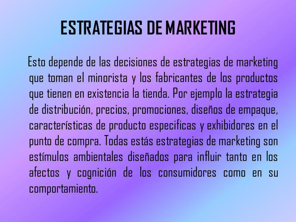ESTRATEGIAS DE MARKETING Esto depende de las decisiones de estrategias de marketing que toman el minorista y los fabricantes de los productos que tienen en existencia la tienda.