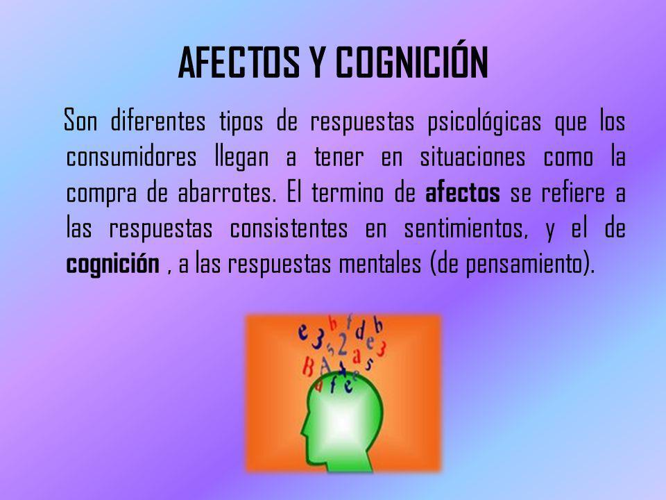 AFECTOS Y COGNICIÓN Son diferentes tipos de respuestas psicológicas que los consumidores llegan a tener en situaciones como la compra de abarrotes. El