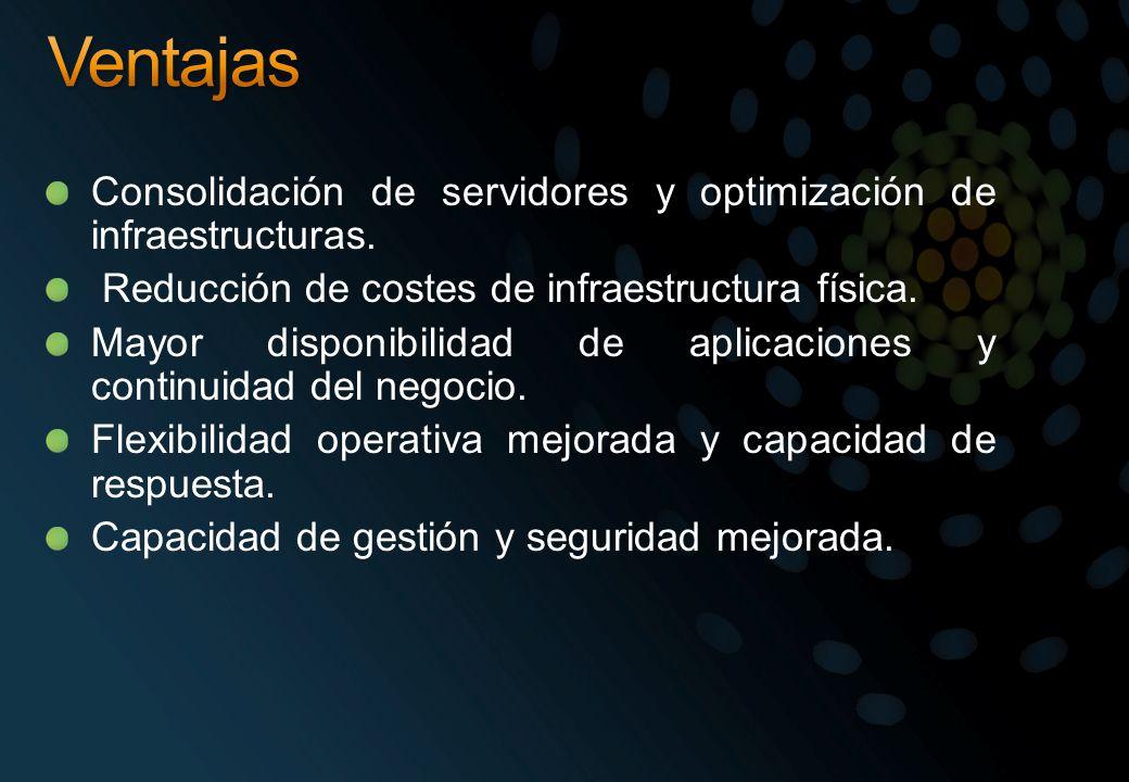Consolidación de servidores y optimización de infraestructuras. Reducción de costes de infraestructura física. Mayor disponibilidad de aplicaciones y