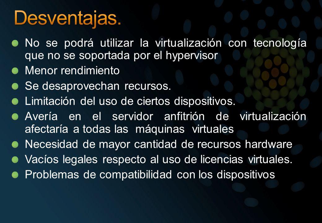 No se podrá utilizar la virtualización con tecnología que no se soportada por el hypervisor Menor rendimiento Se desaprovechan recursos. Limitación de