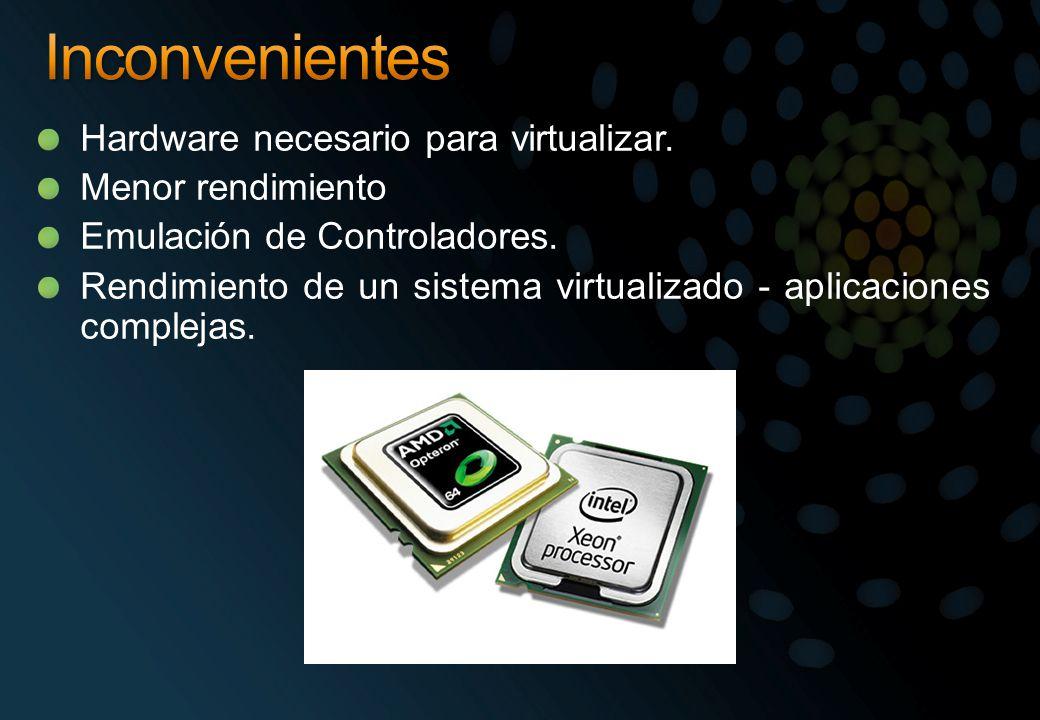 Hardware necesario para virtualizar. Menor rendimiento Emulación de Controladores. Rendimiento de un sistema virtualizado - aplicaciones complejas.