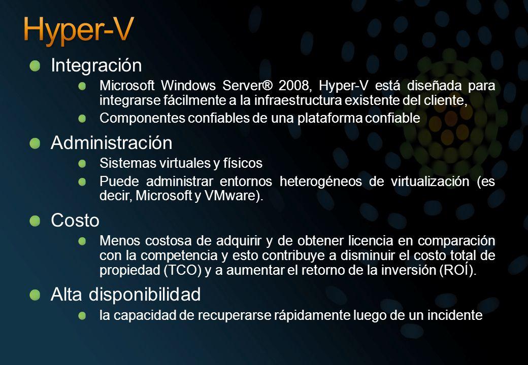 Integración Microsoft Windows Server® 2008, Hyper-V está diseñada para integrarse fácilmente a la infraestructura existente del cliente, Componentes c