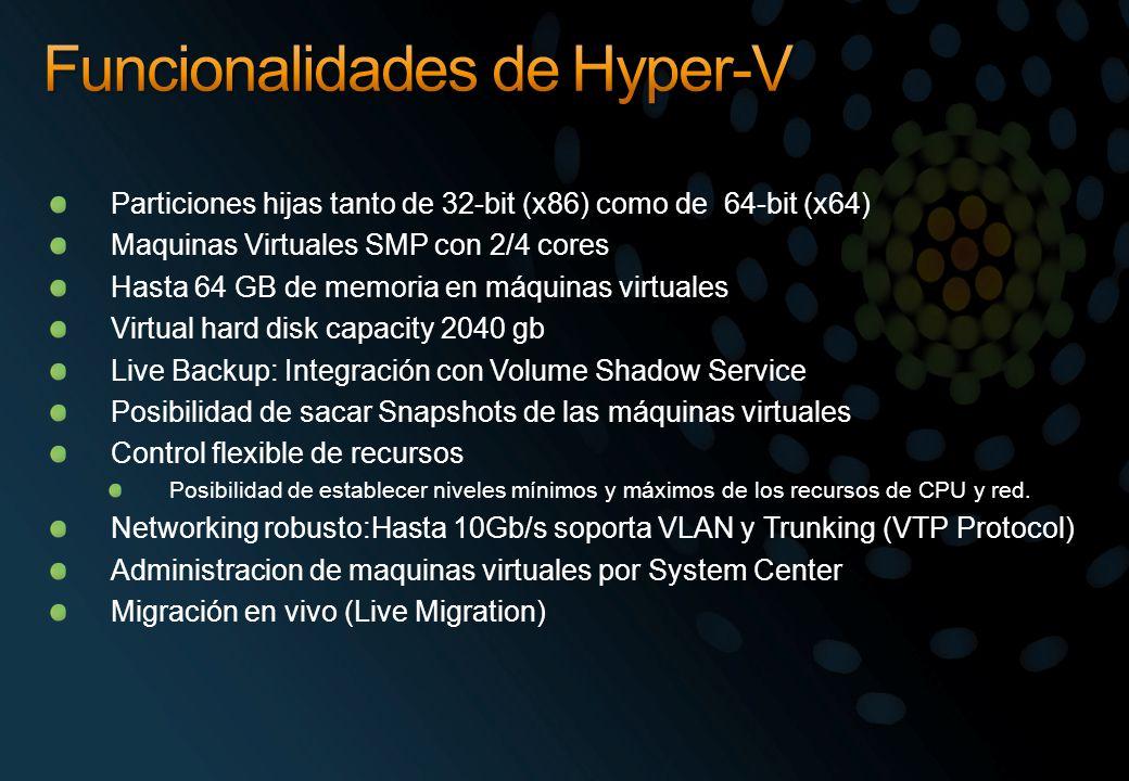 Particiones hijas tanto de 32-bit (x86) como de 64-bit (x64) Maquinas Virtuales SMP con 2/4 cores Hasta 64 GB de memoria en máquinas virtuales Virtual