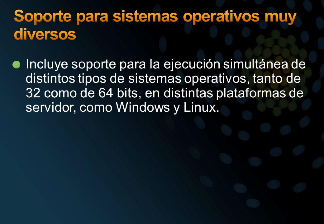 Incluye soporte para la ejecución simultánea de distintos tipos de sistemas operativos, tanto de 32 como de 64 bits, en distintas plataformas de servi
