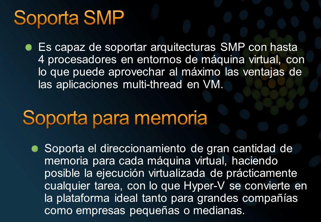 Es capaz de soportar arquitecturas SMP con hasta 4 procesadores en entornos de máquina virtual, con lo que puede aprovechar al máximo las ventajas de