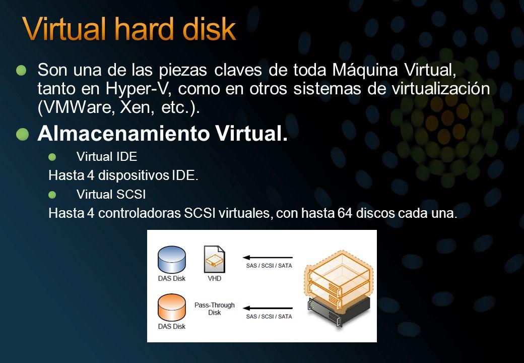 Son una de las piezas claves de toda Máquina Virtual, tanto en Hyper-V, como en otros sistemas de virtualización (VMWare, Xen, etc.). Almacenamiento V