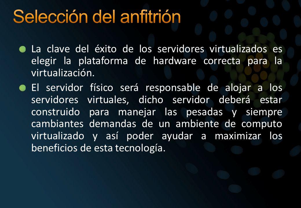 La clave del éxito de los servidores virtualizados es elegir la plataforma de hardware correcta para la virtualización. El servidor físico será respon
