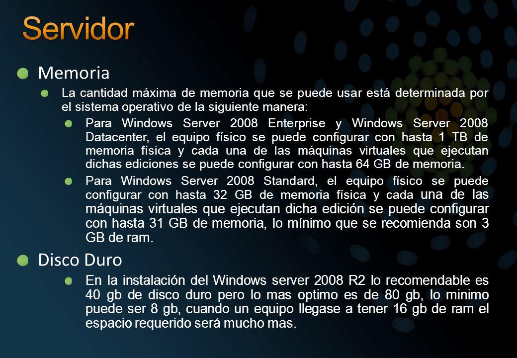 Memoria La cantidad máxima de memoria que se puede usar está determinada por el sistema operativo de la siguiente manera: Para Windows Server 2008 Ent