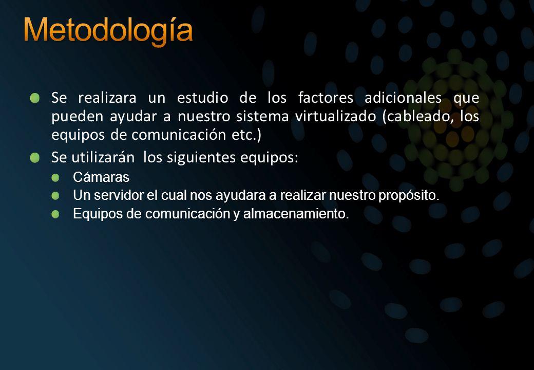 Se realizara un estudio de los factores adicionales que pueden ayudar a nuestro sistema virtualizado (cableado, los equipos de comunicación etc.) Se u