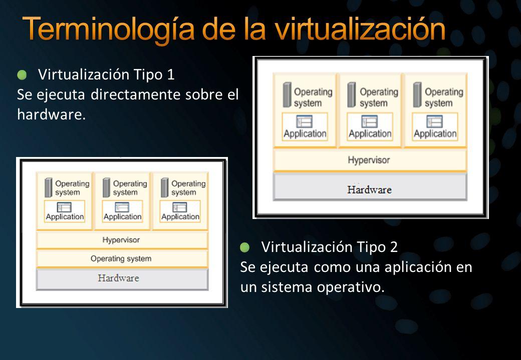 Virtualización Tipo 1 Se ejecuta directamente sobre el hardware. Virtualización Tipo 2 Se ejecuta como una aplicación en un sistema operativo.
