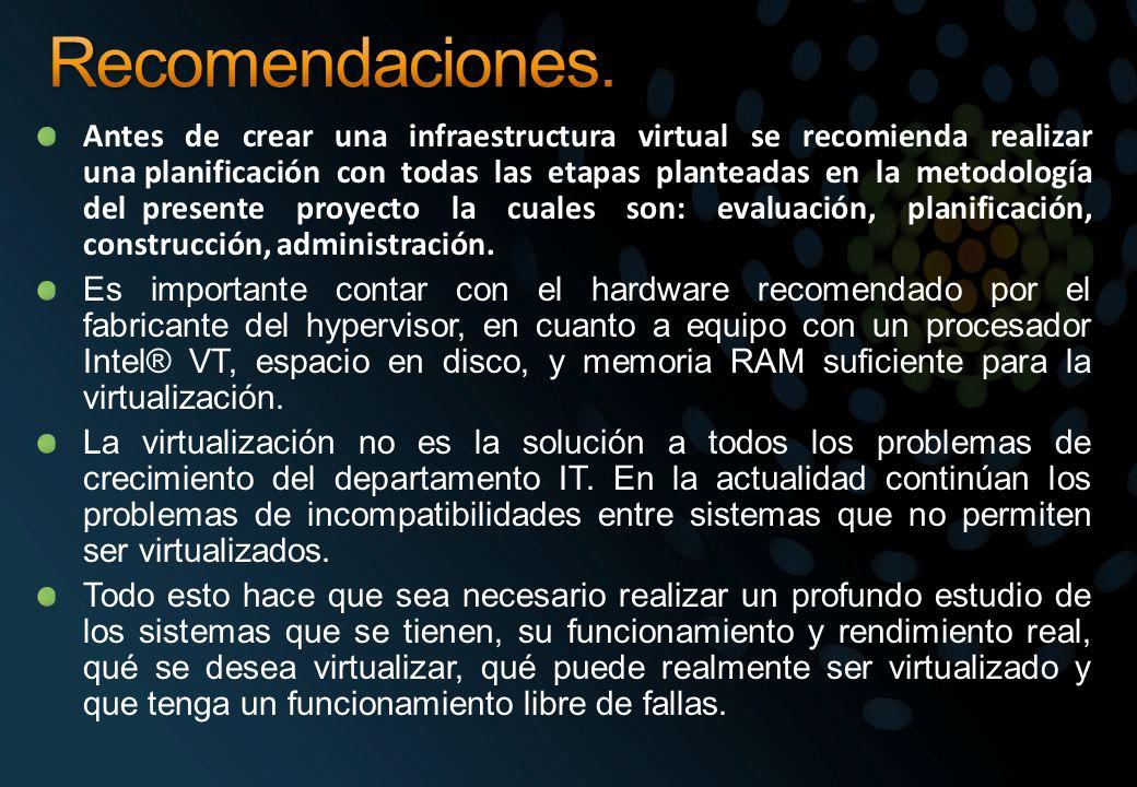 Antes de crear una infraestructura virtual se recomienda realizar una planificación con todas las etapas planteadas en la metodología del presente pro