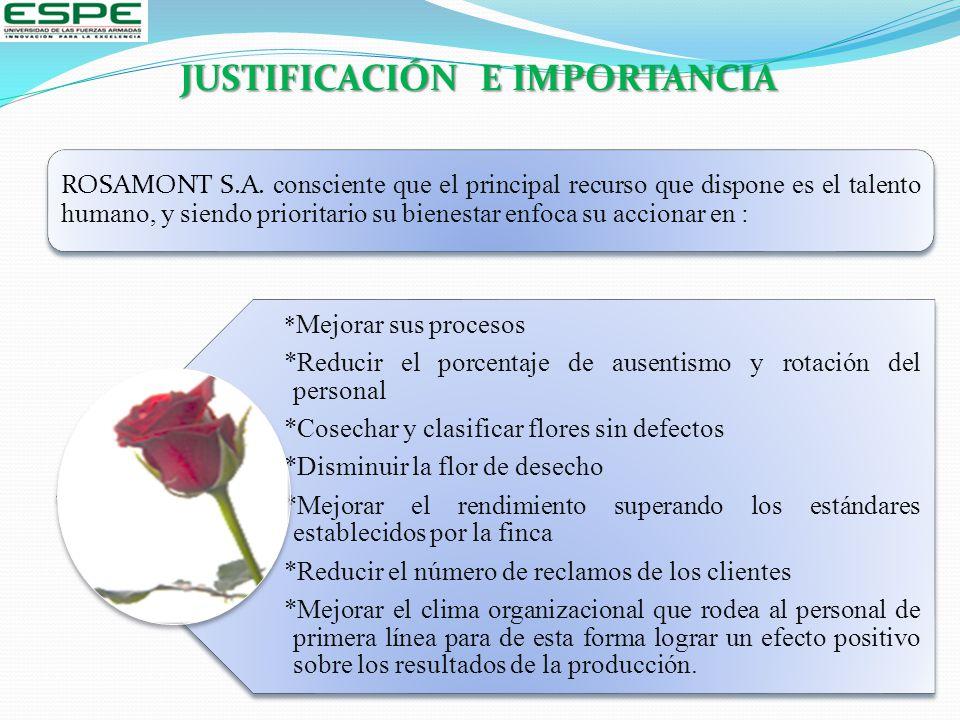 * Mejorar sus procesos *Reducir el porcentaje de ausentismo y rotación del personal *Cosechar y clasificar flores sin defectos *Disminuir la flor de d