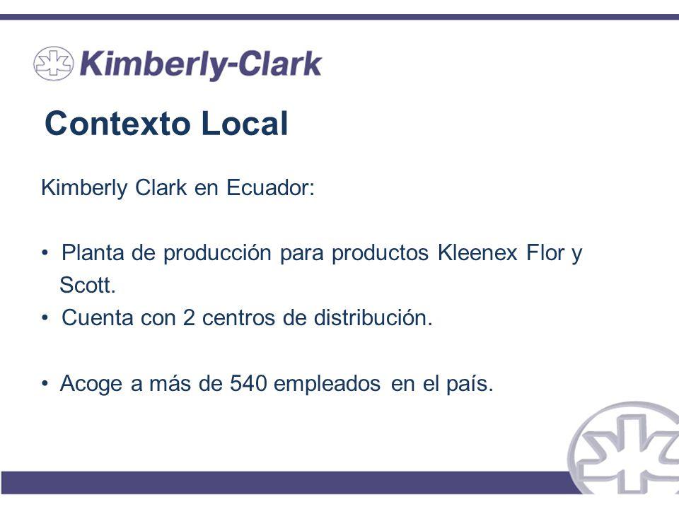 Contexto Local Kimberly Clark en Ecuador: Planta de producción para productos Kleenex Flor y Scott. Cuenta con 2 centros de distribución. Acoge a más