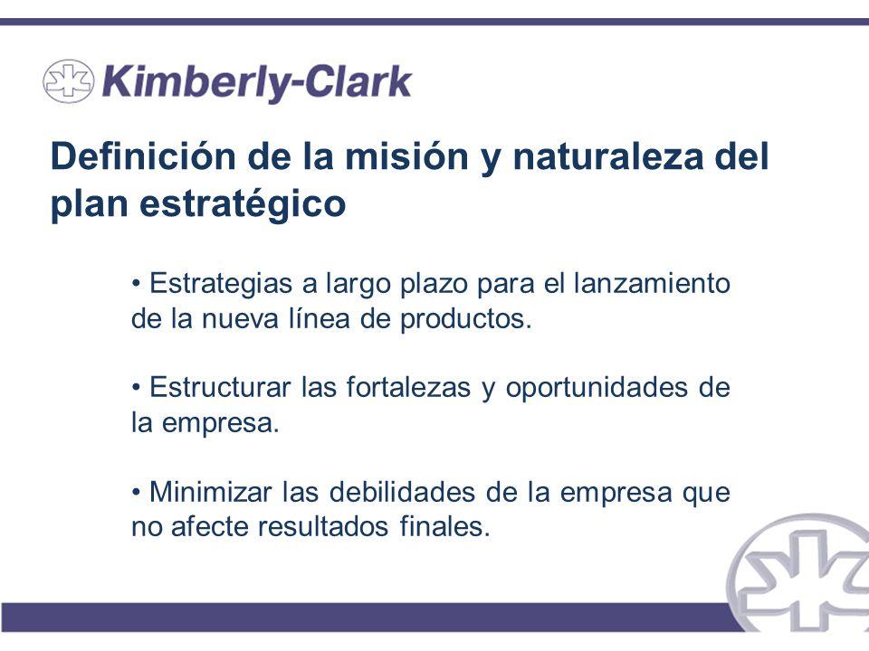 Definición de la misión y naturaleza del plan estratégico Estrategias a largo plazo para el lanzamiento de la nueva línea de productos. Estructurar la