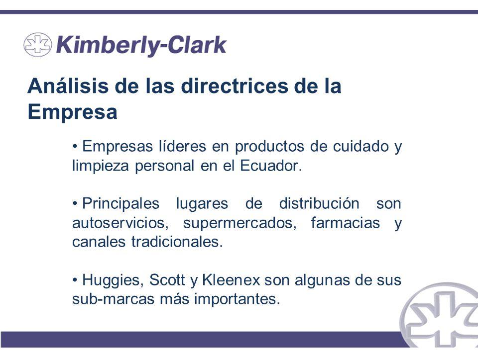 Análisis de las directrices de la Empresa Empresas líderes en productos de cuidado y limpieza personal en el Ecuador. Principales lugares de distribuc