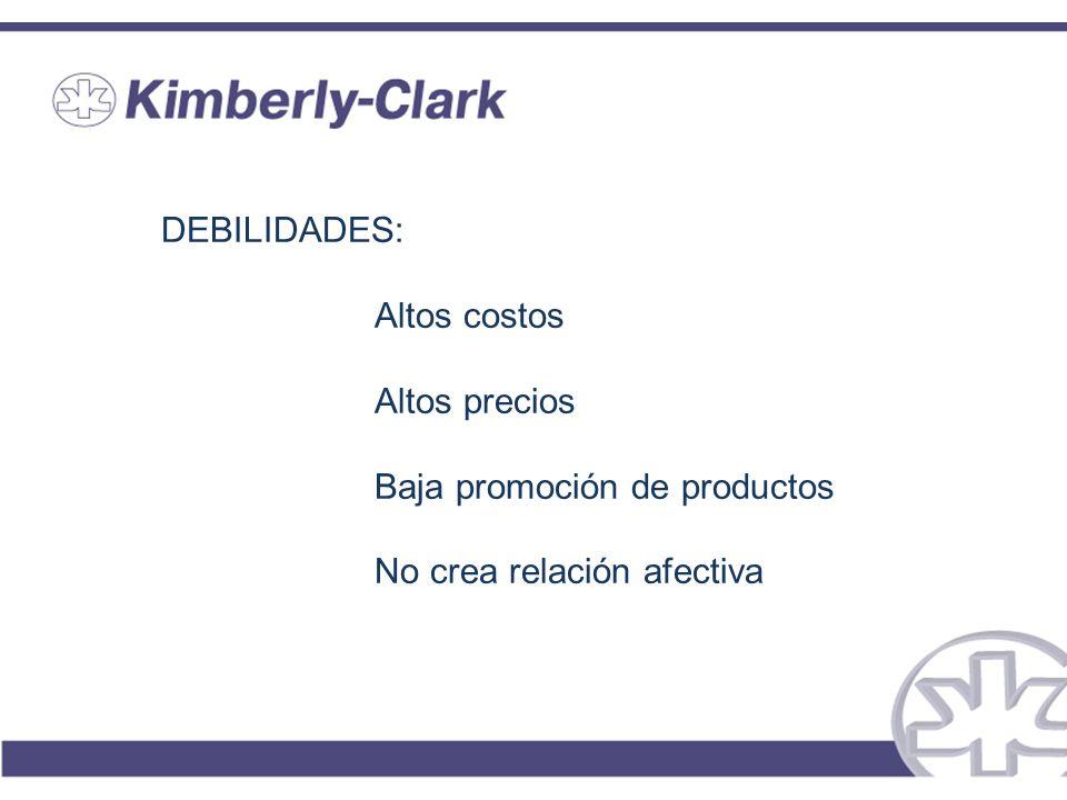 DEBILIDADES: Altos costos Altos precios Baja promoción de productos No crea relación afectiva