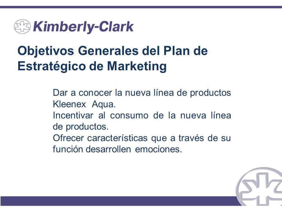 Objetivos Generales del Plan de Estratégico de Marketing Dar a conocer la nueva línea de productos Kleenex Aqua. Incentivar al consumo de la nueva lín
