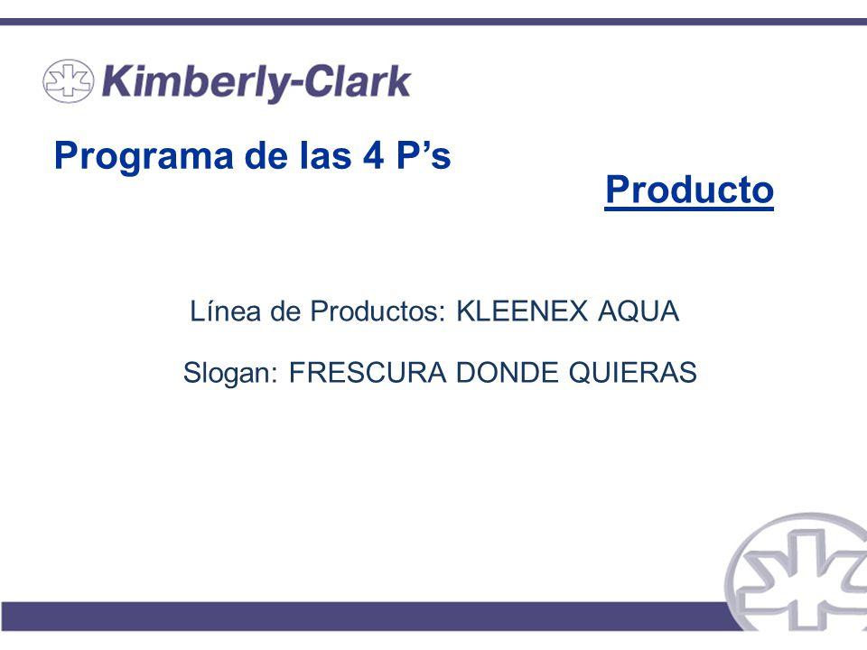 Programa de las 4 Ps Producto Línea de Productos: KLEENEX AQUA Slogan: FRESCURA DONDE QUIERAS