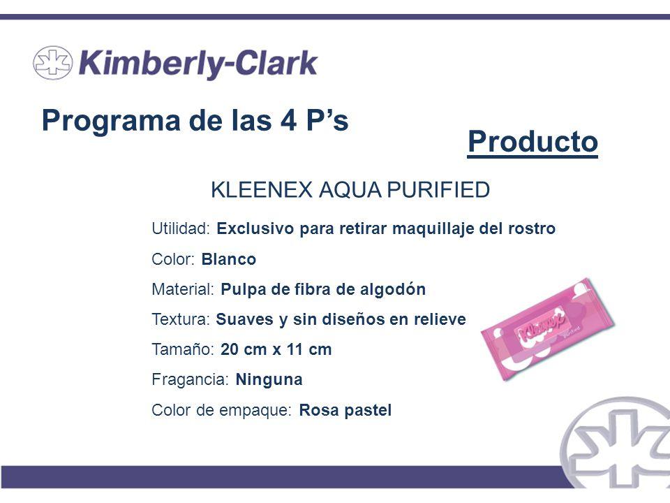 Programa de las 4 Ps Producto KLEENEX AQUA PURIFIED Utilidad: Exclusivo para retirar maquillaje del rostro Color: Blanco Material: Pulpa de fibra de a
