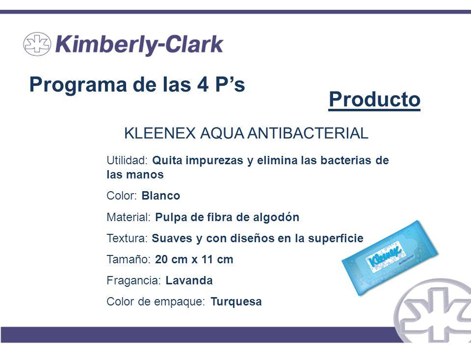 Programa de las 4 Ps Producto KLEENEX AQUA ANTIBACTERIAL Utilidad: Quita impurezas y elimina las bacterias de las manos Color: Blanco Material: Pulpa
