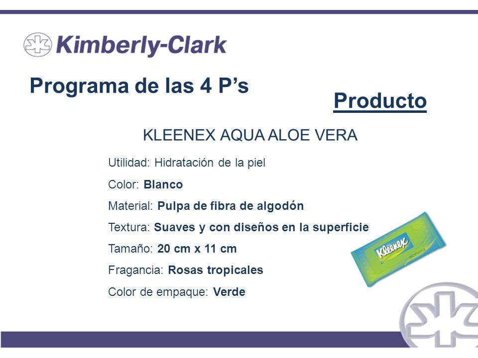 Programa de las 4 Ps Producto KLEENEX AQUA ALOE VERA Utilidad: Hidratación de la piel Color: Blanco Material: Pulpa de fibra de algodón Textura: Suave