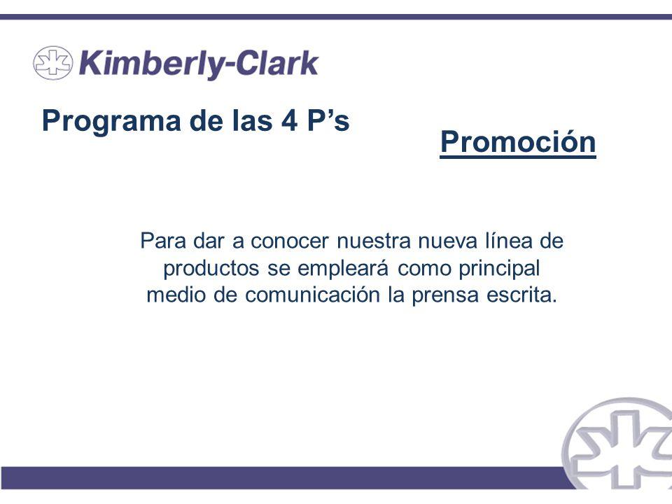 Programa de las 4 Ps Promoción Para dar a conocer nuestra nueva línea de productos se empleará como principal medio de comunicación la prensa escrita.