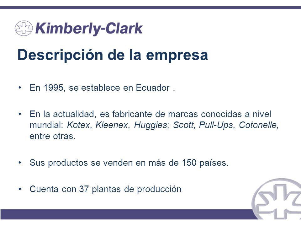 Descripción de la empresa En 1995, se establece en Ecuador. En la actualidad, es fabricante de marcas conocidas a nivel mundial: Kotex, Kleenex, Huggi