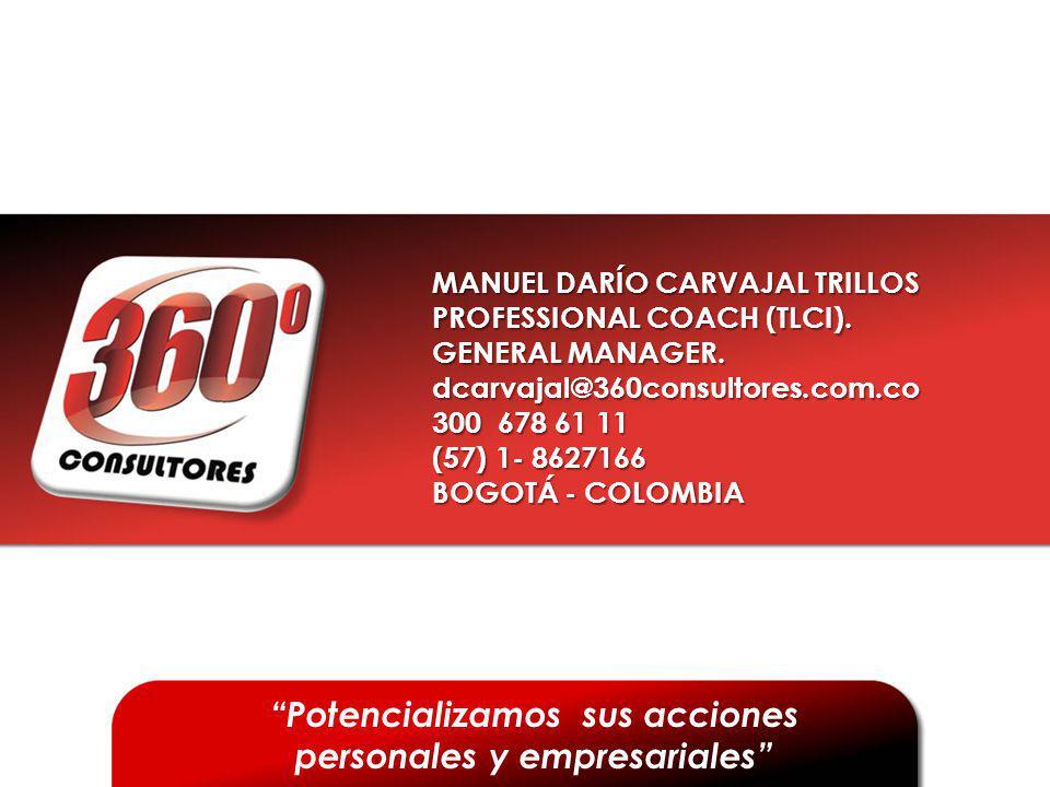 MANUEL DARÍO CARVAJAL TRILLOS PROFESSIONAL COACH (TLCI). GENERAL MANAGER. dcarvajal@360consultores.com.co 300 678 61 11 (57) 1- 8627166 BOGOTÁ - COLOM