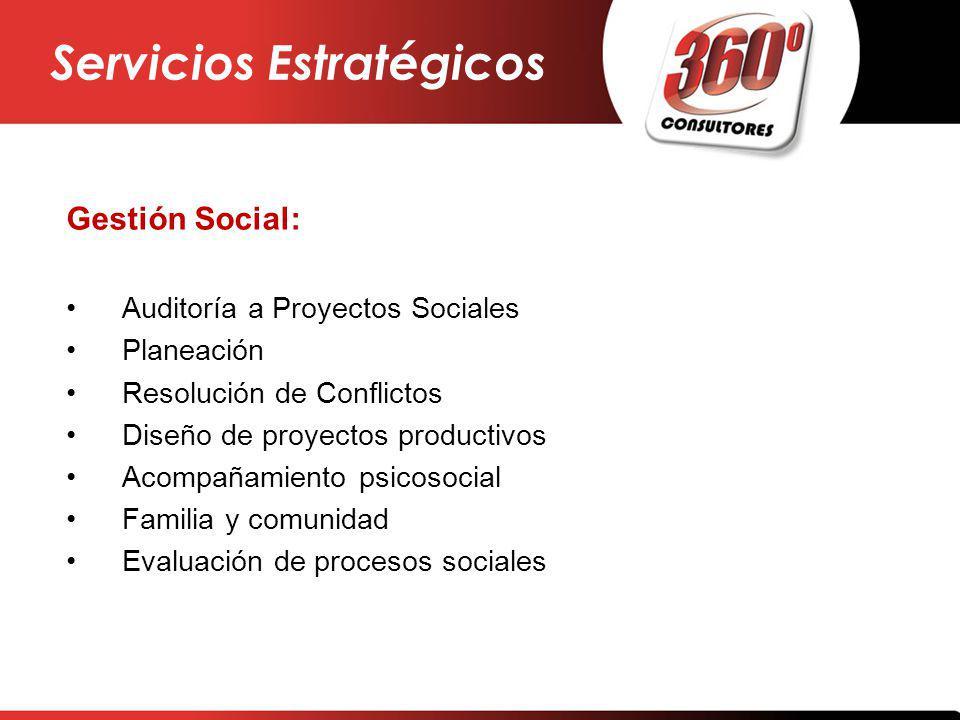 Gestión Social: Auditoría a Proyectos Sociales Planeación Resolución de Conflictos Diseño de proyectos productivos Acompañamiento psicosocial Familia