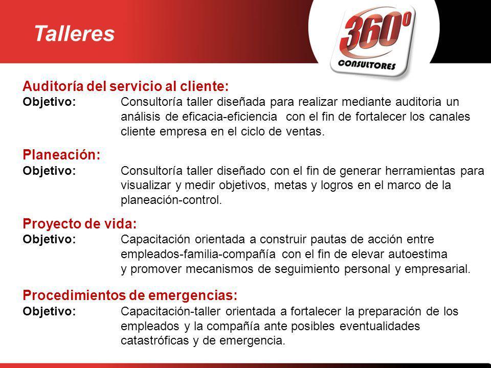 Auditoría del servicio al cliente: Objetivo:Consultoría taller diseñada para realizar mediante auditoria un análisis de eficacia-eficiencia con el fin