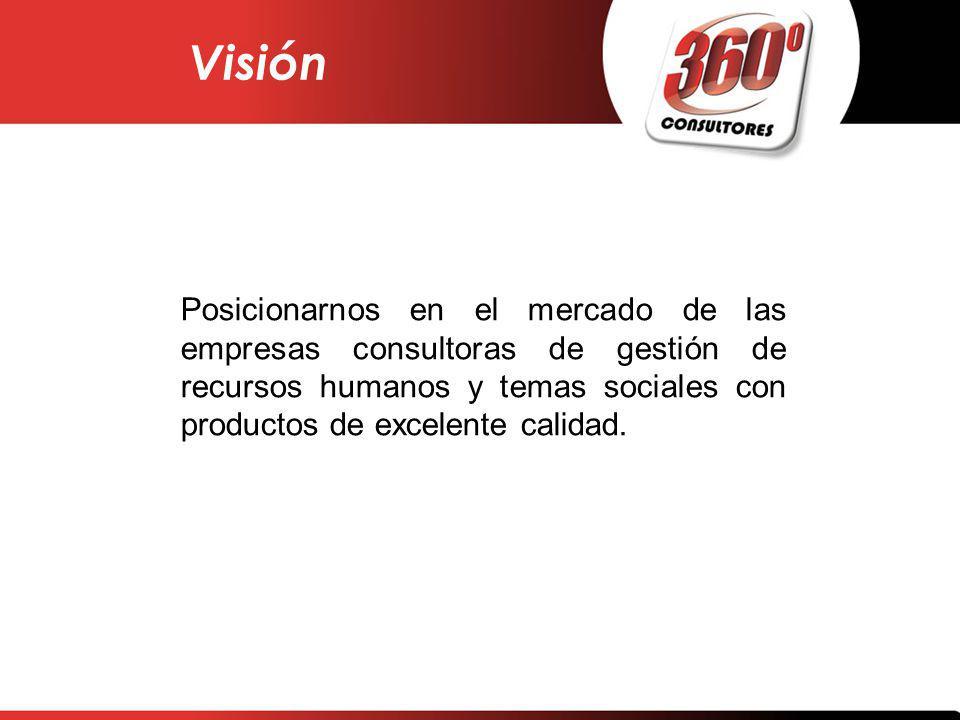 Posicionarnos en el mercado de las empresas consultoras de gestión de recursos humanos y temas sociales con productos de excelente calidad. Visión