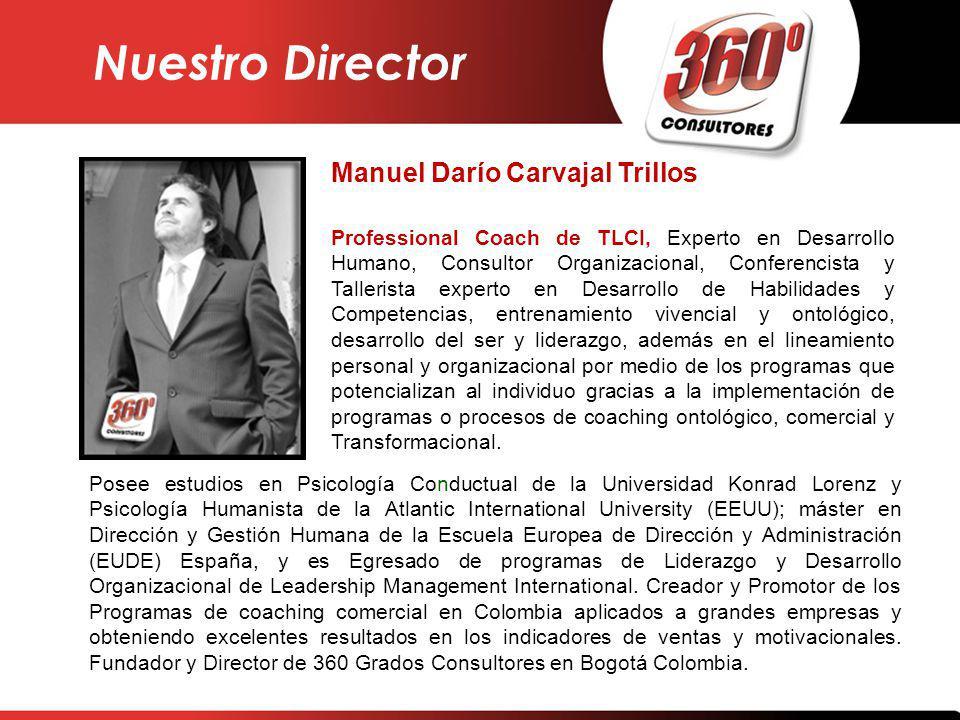 Manuel Darío Carvajal Trillos Professional Coach de TLCI, Experto en Desarrollo Humano, Consultor Organizacional, Conferencista y Tallerista experto e