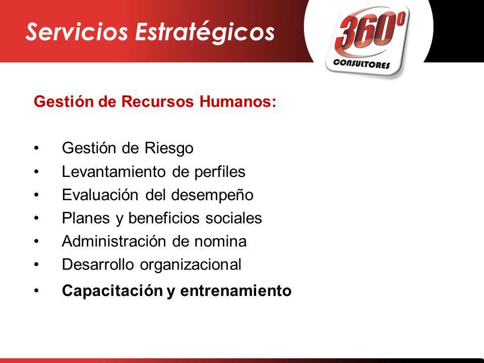 Gestión de Recursos Humanos: Gestión de Riesgo Levantamiento de perfiles Evaluación del desempeño Planes y beneficios sociales Administración de nomin