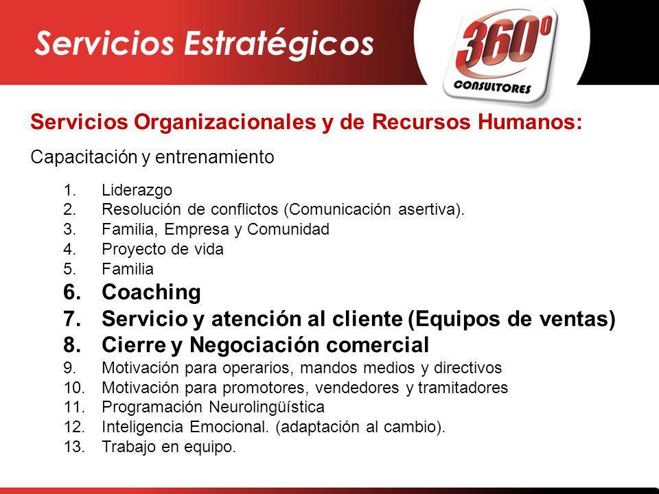 Servicios Organizacionales y de Recursos Humanos: Capacitación y entrenamiento 1.Liderazgo 2.Resolución de conflictos (Comunicación asertiva). 3.Famil