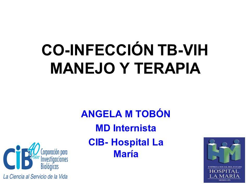 CO-INFECCIÓN TB-VIH Razones para el fallo: 1- Alta prevalencia de TB latente entre adultos en muchas comunidades, pevio al advenimiento del sida 2- DOTS no previene el paso de TB latente a TB activa en pacientes con VIH 3- DOTS no reduce la susceptibilidad de individuos con VIH a infectarse o re-infectarse con M tuberculosis 4- DOTS no reduce el alto riesgo de rápida progresión a TB activa, en pacientes con VIH con reciente infección por M tuberculosis 5- DOTS como única intervención es incapaz de prevenir altas tasas de mortalidad en pacientes con TB/VIH