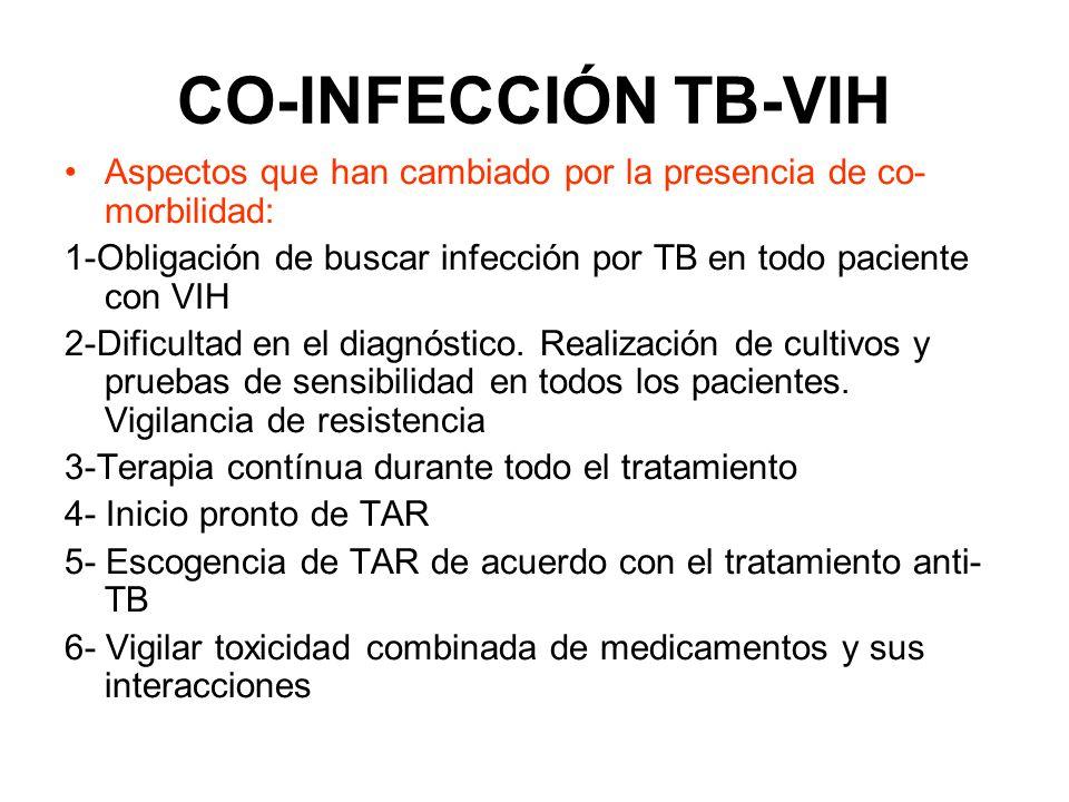 CO-INFECCIÓN TB-VIH Datos de los últimos 10 años han mostrado claramente que DOTS es insuficiente como intervención única para el control de la TB en VIH Inmunodeficiencia es el principal aspecto de ésta epidemia, y la solución debe incluir la recuperación del sistema inmune usando TAR