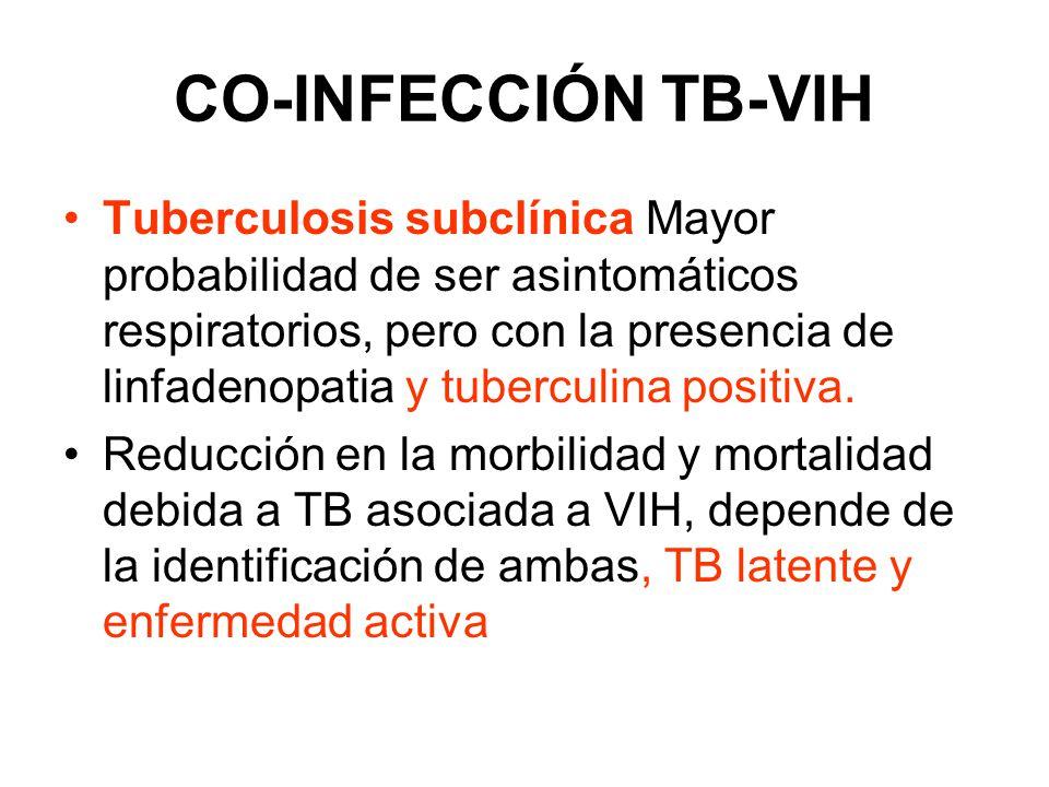 CO-INFECCIÓN TB-VIH OMS: para prevenir que un paciente con TB activa reciba solo isoniazida como profilaxis de TB latente: Realizar: Rx de torax a todo paciente con más de 3 sem de TOS 3 baciloscopias En paciente con VIH: Rx torax normal en 1/3 No expectoración Enfermedad extrapulmonar Gran dificultad en separar TB latente de activa