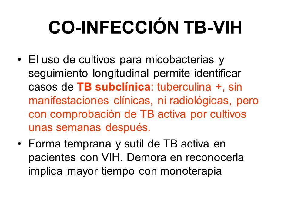 CO-INFECCIÓN TB-VIH 10 pacientes con TB subclínica Ninguno presentó fiebre Ninguno presentó tos 5 con linfadenopatia 8 con Tuberculina 5mm 9 con Rx torax normal y 1 con cicatriz basal 9 con baciloscopia negativa 10 cultivo positivo en esputo LA TB ACTIVA ES DIFICIL DE COMPROBAR CON UNA SOLA EVALUACIÓN
