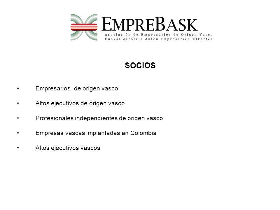 SOCIOS Empresarios de origen vasco Altos ejecutivos de origen vasco Profesionales independientes de origen vasco Empresas vascas implantadas en Colomb