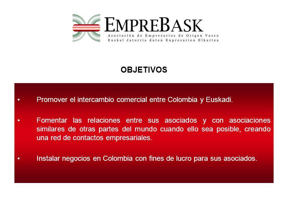OBJETIVOS Promover el intercambio comercial entre Colombia y Euskadi. Fomentar las relaciones entre sus asociados y con asociaciones similares de otra