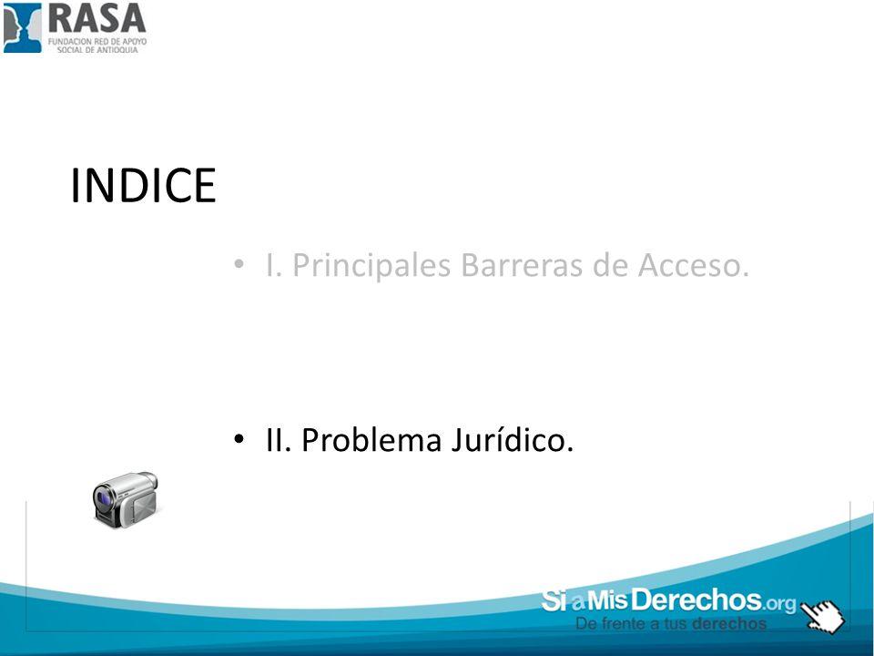 INDICE I. Principales Barreras de Acceso. II. Problema Jurídico.