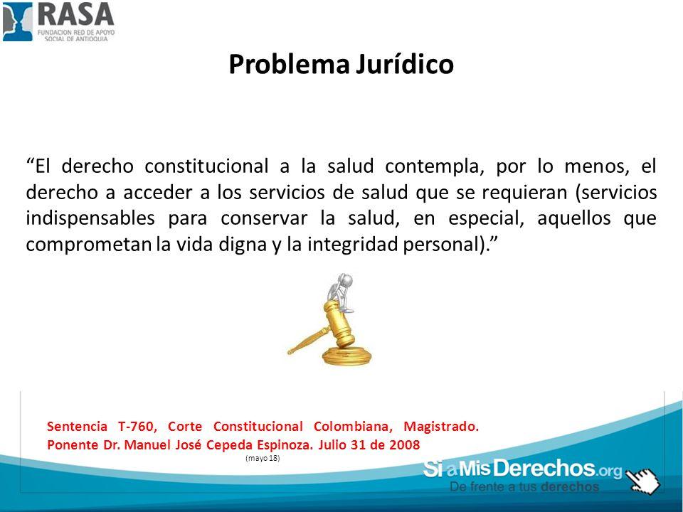 Problema Jurídico El derecho constitucional a la salud contempla, por lo menos, el derecho a acceder a los servicios de salud que se requieran (servic