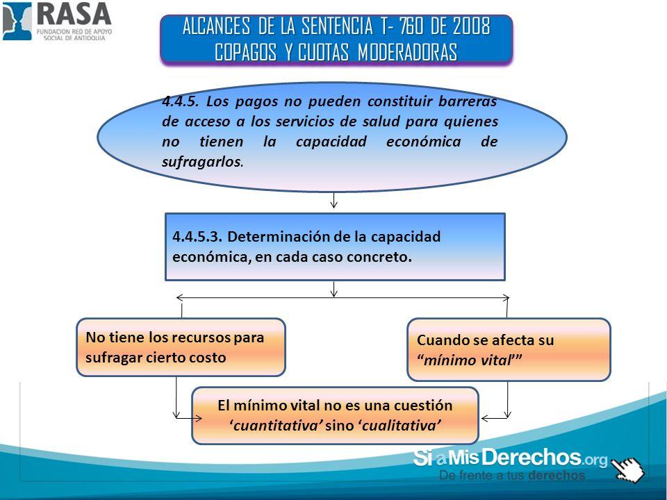ALCANCES DE LA SENTENCIA T- 760 DE 2008 COPAGOS Y CUOTAS MODERADORAS ALCANCES DE LA SENTENCIA T- 760 DE 2008 COPAGOS Y CUOTAS MODERADORAS 4.4.5.
