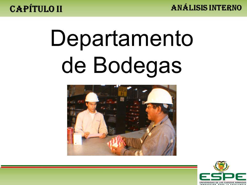 CAPÍTULO II ANÁLISIS INTERNO Departamento de Bodegas