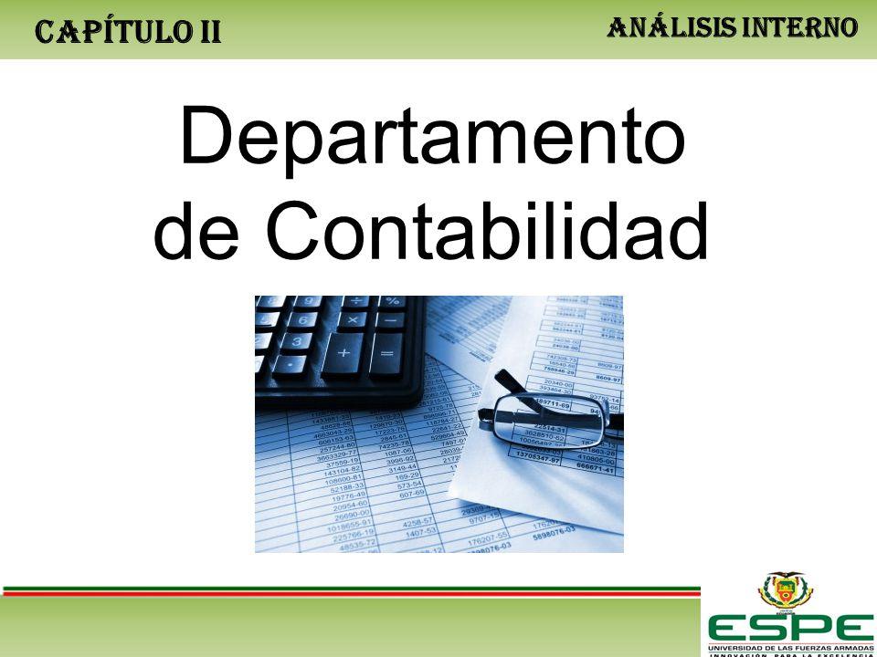 CAPÍTULO II ANÁLISIS INTERNO Departamento de Contabilidad