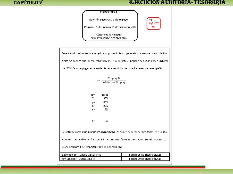 CAPÍTULO V EJECUCIÓN AUDITORÍA- TESORERÍA
