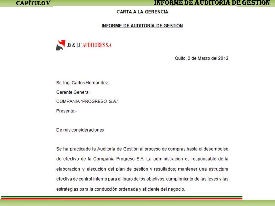 CAPÍTULO V INFORME DE AUDITORÍA DE GESTIÓN