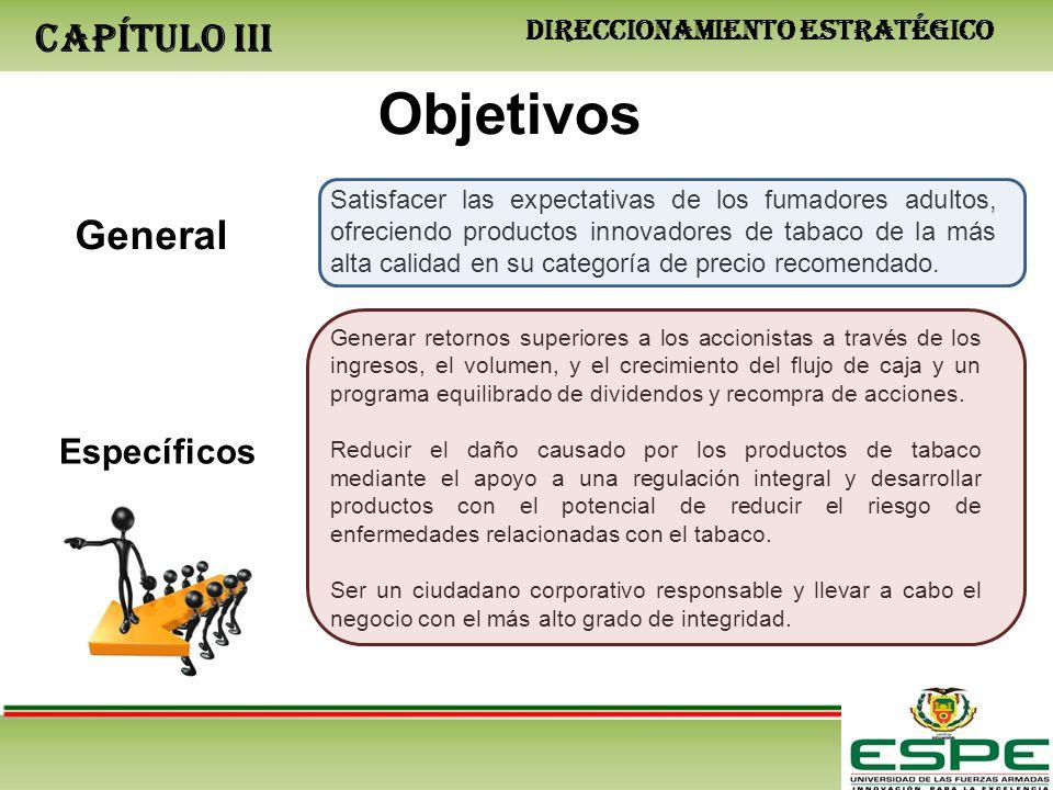 CAPÍTULO III Objetivos General Específicos Satisfacer las expectativas de los fumadores adultos, ofreciendo productos innovadores de tabaco de la más alta calidad en su categoría de precio recomendado.